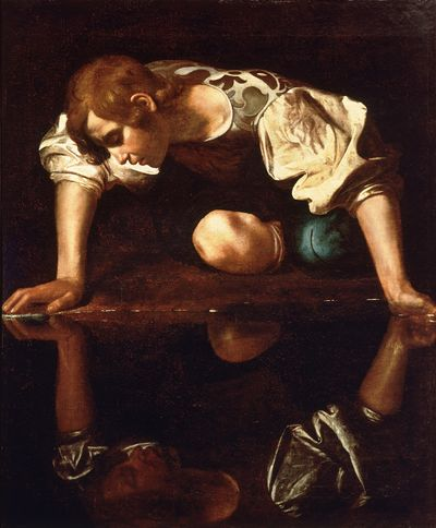 Narcissus by Michelangelo Caravaggio, dated between 1594 and 1596, Courtesy of Galleria Nazionale d'Arte Antica, Rome.