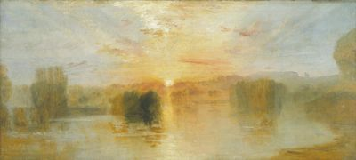 Joseph Mallord William Turner   The Lake, Petworth, Sunset;   Sample Study c.1827–8   Oil paint on canvas 63,5 x 139,7 cm